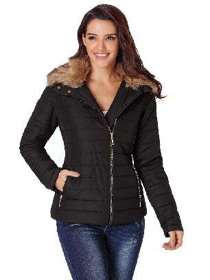 Black Casual Winter Faux Fur Collar Decoration Long Sleeve Trim Jacket