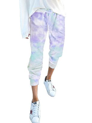 Light Blue Gradient Drawstring Tie Dye Ancle-length Jogger