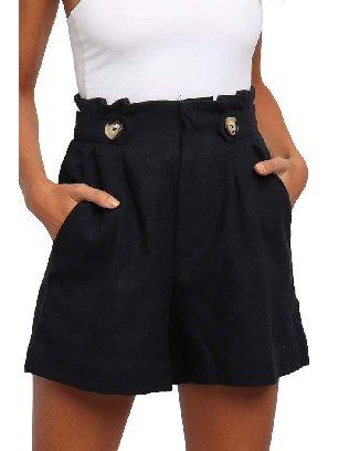 Black Casual Shorts Ruffle Frilled High Waist