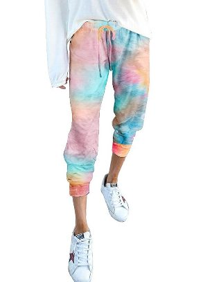 As shown Gradient Drawstring Tie Dye Ancle-length Jogger