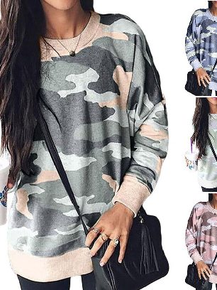 Supply Spring Digital Camo Print Slim Plus Size Sweatshirt