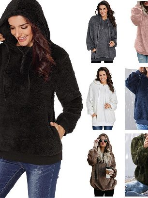 Supply Women Winter Warm Solid Color Furry Pullover Hoodie