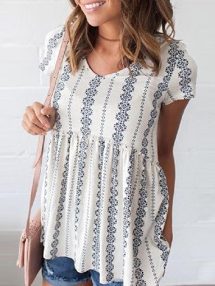 Loose Round Neck High Waist Short Sleeve V Floral Print Peplum Tunic Top