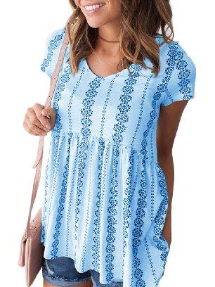Sky Blue Loose Round Neck High Waist Short Sleeve V Floral Print Peplum Tunic Top