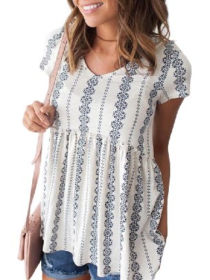 White Loose Round Neck High Waist Short Sleeve V Floral Print Peplum Tunic Top