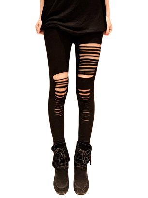 Supply Black Sexy Striped Fantasy Getting Ripped Ancle-length Leggings