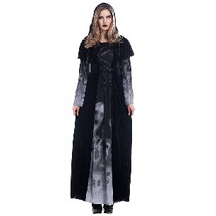 adult female god of death dress robe horror skull vampire role-playing Halloween Costume