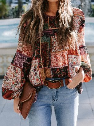 Supply Multicolor Lace Stitching Bohemian Floral Print Patchwork Top