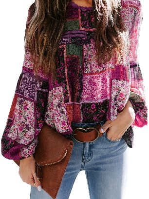 Rose red Multicolor Lace Stitching Bohemian Floral Print Patchwork Top