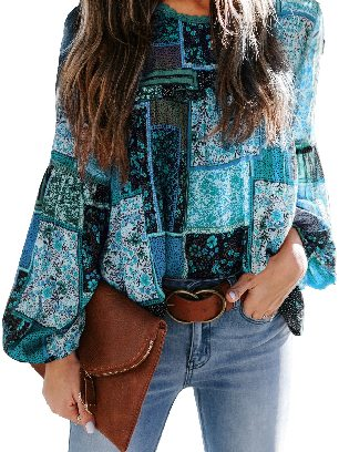 Peacock Blue Multicolor Lace Stitching Bohemian Floral Print Patchwork Top