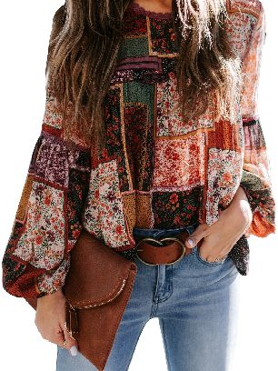 Burgundy Multicolor Lace Stitching Bohemian Floral Print Patchwork Top