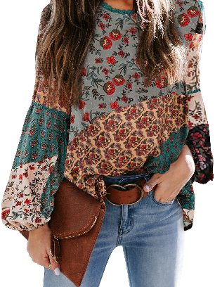 Green Multicolor Lace Stitching Bohemian Floral Print Patchwork Top