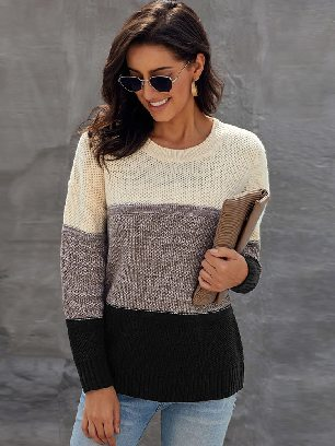 Supply Women Autumn and Winter Block Netted Texture Three-color Stitching Pullover Sweater
