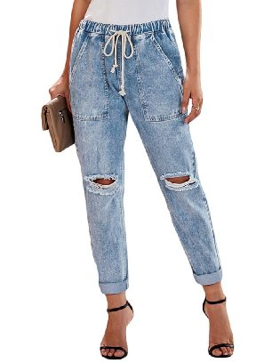Light Blue Women Round Distressed Denim Big Pockets Plus Size Cropped Pants Jeans