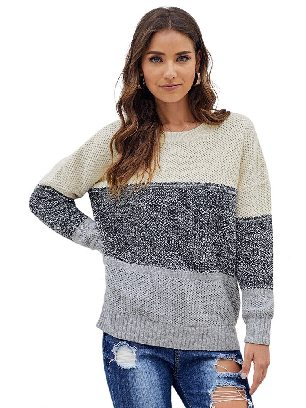 Gray Women Autumn and Winter Block Netted Texture Three-color Stitching Pullover Sweater