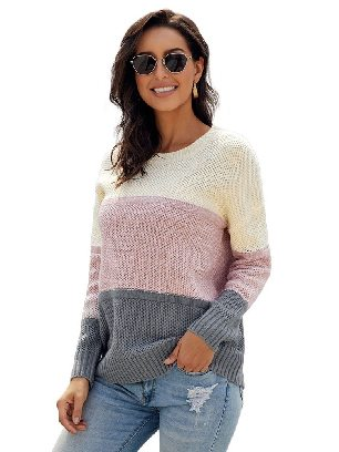Dark Gray Women Autumn and Winter Block Netted Texture Three-color Stitching Pullover Sweater