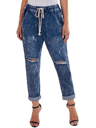 Blue Women Round Distressed Denim Big Pockets Plus Size Cropped Pants Jeans