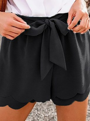 Supply Pure Color Khaki Scalloped Tie Front Casual Shorts