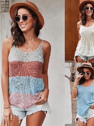 Supply Knitted Camisole Cami Thin Shoulder Strap Casual Tank Top