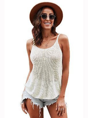 White Knitted Camisole Cami Thin Shoulder Strap Casual Tank Top