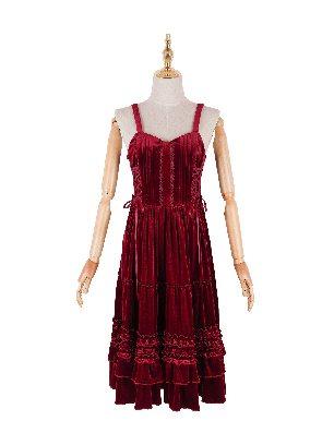 Waltz 2.0 Long Lolita Double Drawstring Bow Elegant Velvet Vest Skirt