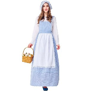 Ranch Story Farm Girl Sky Blue Plaid Kitchen Girl Skirt Pastoral Parent-child cosplay Costume
