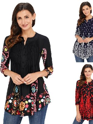 Supply Floral Printed T-shirt Notch Neck Pin-tuck Tunic