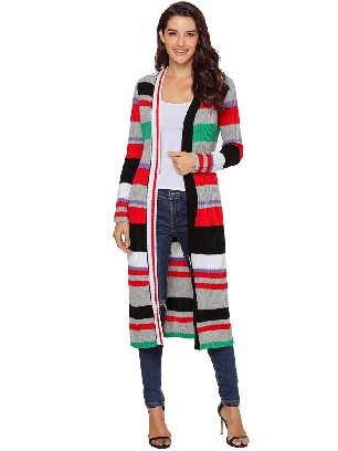 Knitted Sweater Multicolor Striped Colorblock Long Cardigan