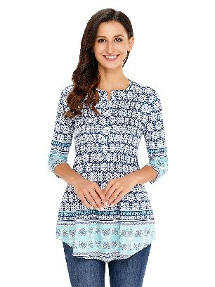 Supply As Shown in White and Blue Floral Printed T-shirt Notch Neck Pin-tuck Tunic