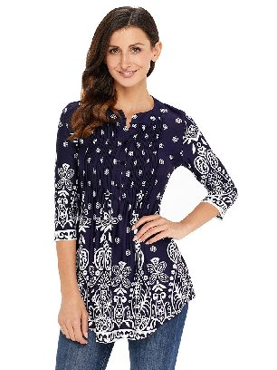 Supply Royal blue Floral Printed T-shirt Notch Neck Pin-tuck Tunic