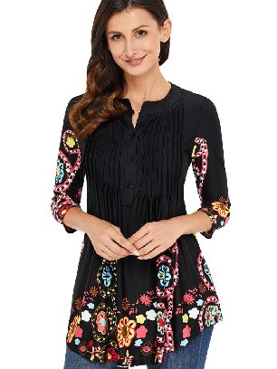 Supply Black Floral Printed T-shirt Notch Neck Pin-tuck Tunic