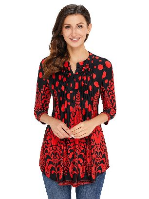Supply Red Floral Printed T-shirt Notch Neck Pin-tuck Tunic