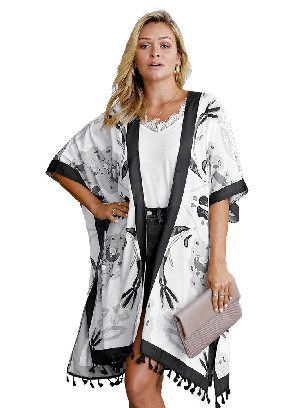 Supply Bohemian Print Open Front Women Loose Kimono Beach Cover Up