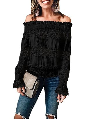Supply Lantern Sleeves Off Shoulder Ruffle Long Sleeve Smocked Waist Lace Crochet Blouse