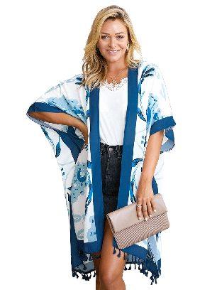 Blue Bohemian Print Open Front Women Loose Kimono Beach Cover Up