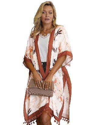 Orange Bohemian Print Open Front Women Loose Kimono Beach Cover Up