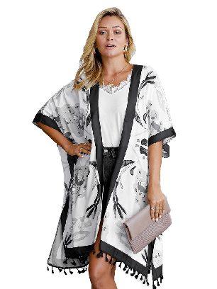 Black Bohemian Print Open Front Women Loose Kimono Beach Cover Up