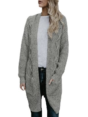 Gray Cable Knit Sweater Pocketed Mid-length Loose Cardigan