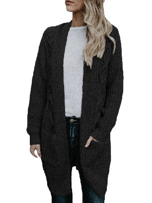 Black Cable Knit Sweater Pocketed Mid-length Loose Cardigan
