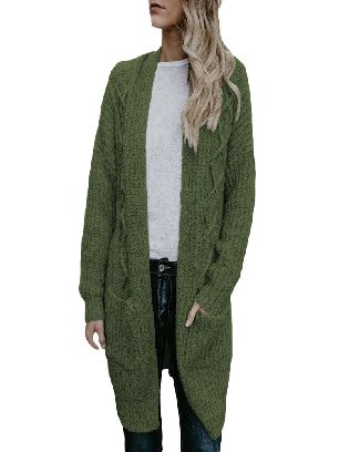 Army Green Cable Knit Sweater Pocketed Mid-length Loose Cardigan