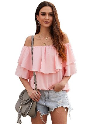 Supply Casual Chiffon Ruffle Frilling Off-shoulder Top