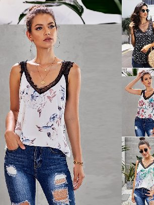 Supply Sleeveless Print Tropical Love Women Small Lace Cami Tank