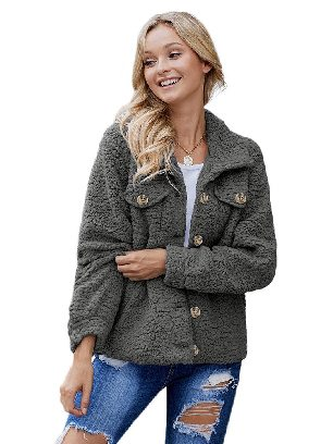Gray Simple Solid Color Sherpa Single-breasted Long Sleeve Jacket