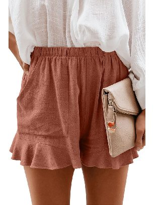 Khaki Fashion Five-point Cotton Pocketed Flutter Women Shorts