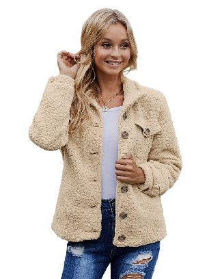 Khaki Simple Solid Color Sherpa Single-breasted Long Sleeve Jacket