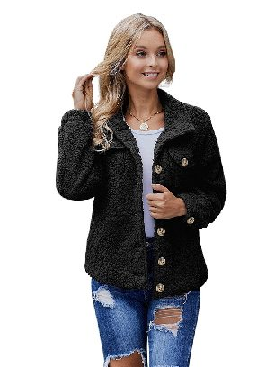 Black Simple Solid Color Sherpa Single-breasted Long Sleeve Jacket