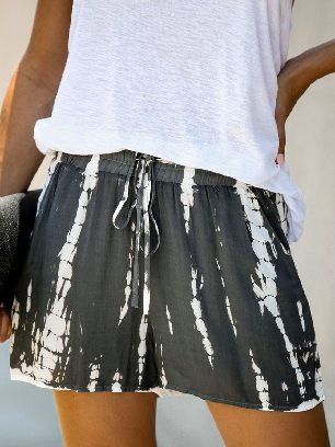 Supply Women Casual Tie Dye Drawstring Shorts