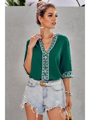 Supply V-neck Pullover Chic Boho V Neckline Half Sleeve Blouse