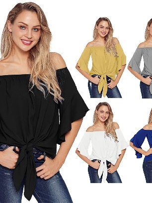 Supply Calf-Length Sleeve Off The Shoulder Women Knot Front Top