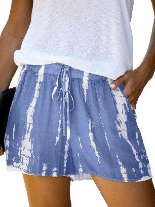 Blue Women Casual Tie Dye Drawstring Shorts